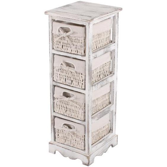 Regal Kommode mit 4 Korbschubladen 74x25x28cm, Shabby-Look, Vintage ~ wei�