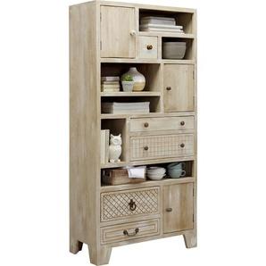 : Regal, Holz,Mangoholz, Natur, Weiß, B/H/T 85 178 40
