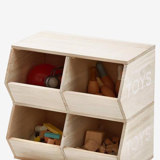 Regal ,,Toys, 4 Boxen natur