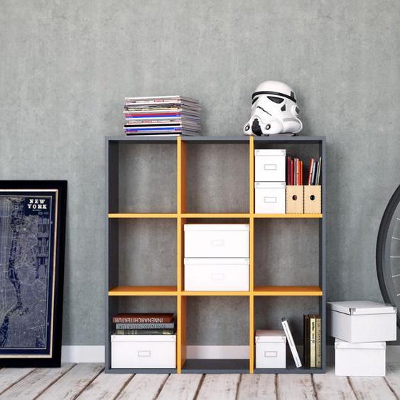 Regalsystem Anthrazit - Flexibles Regalsystem: Hochwertige Qualität, einzigartiges Design - 118 x 118 x 35 cm, Komplett anpassbar