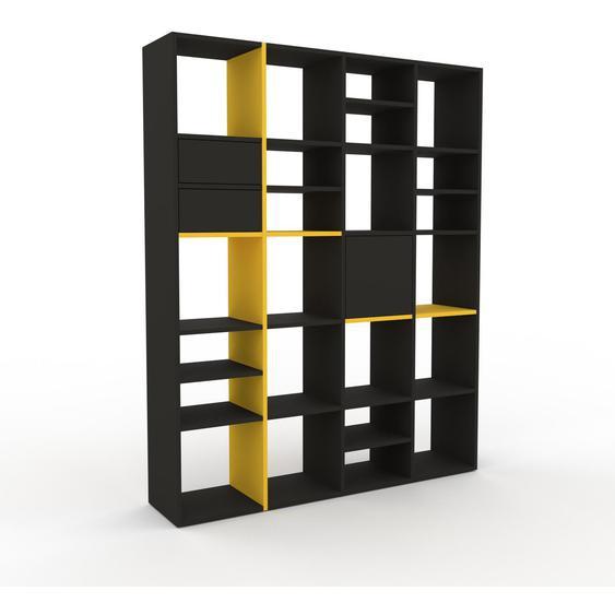 Regalsystem Anthrazit - Regalsystem: Schubladen in Anthrazit & Türen in Anthrazit - Hochwertige Materialien - 156 x 195 x 35 cm, konfigurierbar