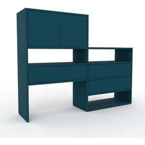 Regalsystem Blau - Regalsystem: Schubladen in Blau & Türen in Blau - Hochwertige Materialien - 152 x 118 x 35 cm, konfigurierbar