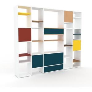 Regalsystem Weiß - Regalsystem: Schubladen in Blau & Türen in Blau - Hochwertige Materialien - 231 x 195 x 35 cm, konfigurierbar