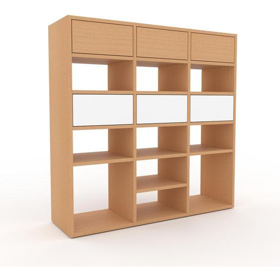 Regalsystem Buche - Flexibles Regalsystem: Schubladen in Buche - Hochwertige Materialien - 118 x 118 x 35 cm, Komplett anpassbar