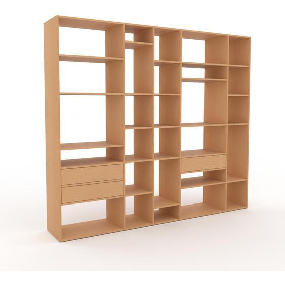 Regalsystem Buche - Flexibles Regalsystem: Schubladen in Buche - Hochwertige Materialien - 267 x 233 x 47 cm, Komplett anpassbar