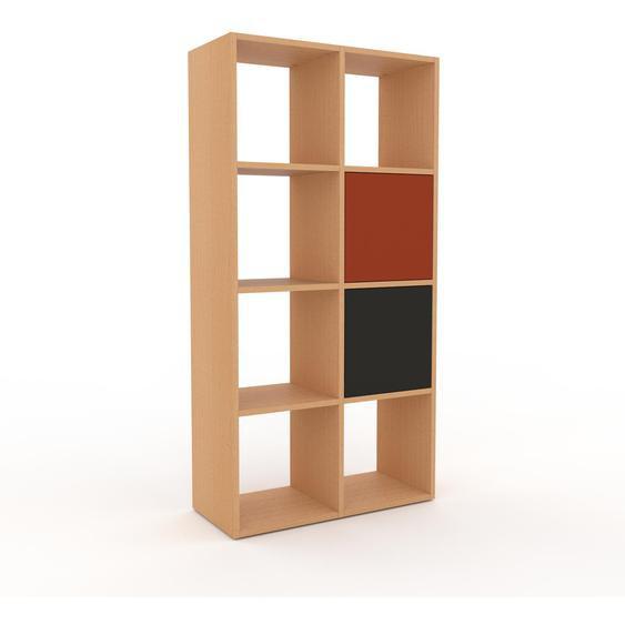 Regalsystem Buche - Flexibles Regalsystem: Türen in Anthrazit - Hochwertige Materialien - 79 x 157 x 35 cm, Komplett anpassbar