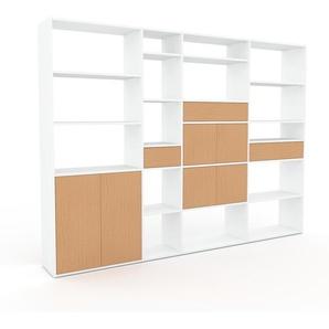 Regalsystem Weiß - Regalsystem: Schubladen in Buche & Türen in Buche - Hochwertige Materialien - 265 x 195 x 35 cm, konfigurierbar