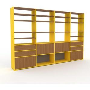 Regalsystem Gelb - Regalsystem: Schubladen in Eiche & Türen in Eiche - Hochwertige Materialien - 301 x 196 x 35 cm, konfigurierbar
