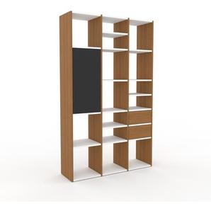 Regalsystem Eiche - Regalsystem: Schubladen in Eiche & Türen in Anthrazit - Hochwertige Materialien - 118 x 195 x 35 cm, konfigurierbar
