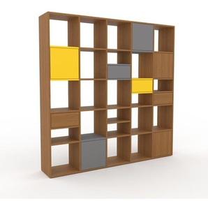 Regalsystem Eiche - Regalsystem: Schubladen in Eiche & Türen in Grau - Hochwertige Materialien - 195 x 195 x 35 cm, konfigurierbar