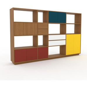 Regalsystem Eiche - Regalsystem: Schubladen in Eiche & Türen in Rot - Hochwertige Materialien - 265 x 162 x 35 cm, konfigurierbar
