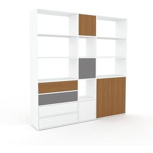 Regalsystem Weiß - Regalsystem: Schubladen in Weiß & Türen in Eiche - Hochwertige Materialien - 190 x 195 x 35 cm, konfigurierbar