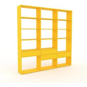 Regalsystem Gelb - Flexibles Regalsystem: Schubladen in Gelb - Hochwertige Materialien - 226 x 233 x 35 cm, Komplett anpassbar