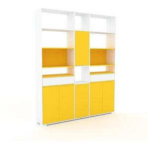 Regalsystem Weiß - Regalsystem: Schubladen in Weiß & Türen in Gelb - Hochwertige Materialien - 190 x 235 x 35 cm, konfigurierbar