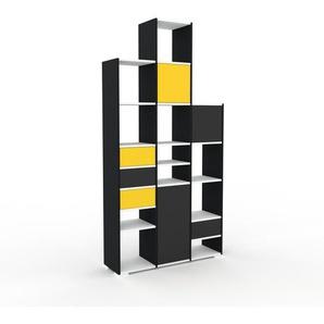 Regalsystem Schwarz - Regalsystem: Schubladen in Gelb & Türen in Anthrazit - Hochwertige Materialien - 118 x 235 x 35 cm, konfigurierbar