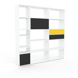 Regalsystem Weiß - Regalsystem: Schubladen in Gelb & Türen in Anthrazit - Hochwertige Materialien - 190 x 195 x 35 cm, konfigurierbar