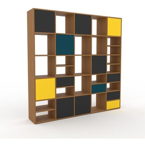 Regalsystem Eiche - Regalsystem: Schubladen in Anthrazit & Türen in Anthrazit - Hochwertige Materialien - 195 x 195 x 35 cm, konfigurierbar