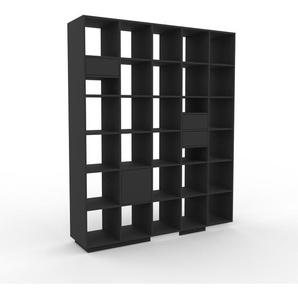 Regalsystem Anthrazit - Regalsystem: Schubladen in Anthrazit & Türen in Anthrazit - Hochwertige Materialien - 195 x 239 x 47 cm, konfigurierbar