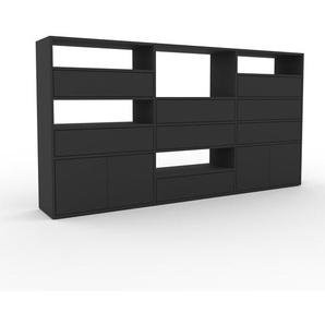 Regalsystem Anthrazit - Regalsystem: Schubladen in Anthrazit & Türen in Anthrazit - Hochwertige Materialien - 226 x 118 x 35 cm, konfigurierbar