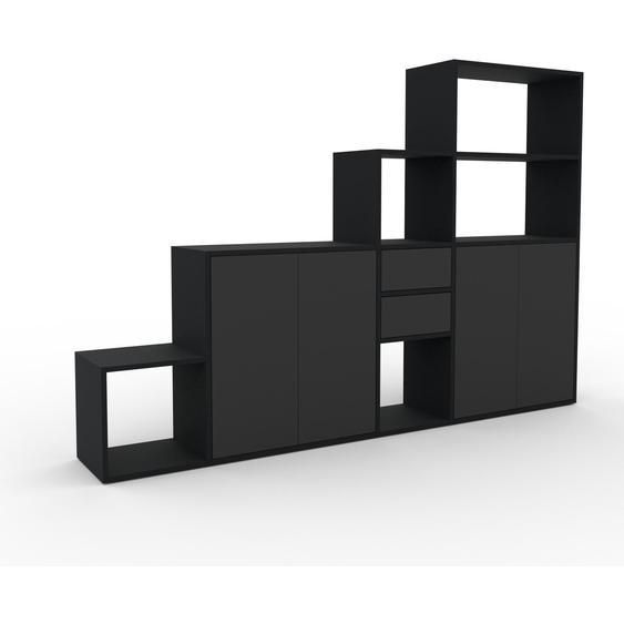 Regalsystem Graphitgrau - Regalsystem: Schubladen in Graphitgrau & Türen in Graphitgrau - Hochwertige Materialien - 229 x 157 x 35 cm, konfigurierbar