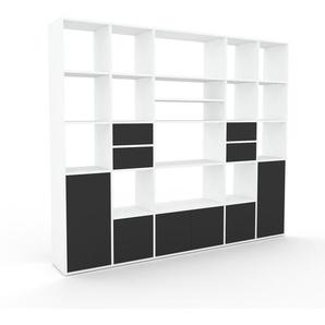 Regalsystem Weiß - Regalsystem: Schubladen in Anthrazit & Türen in Anthrazit - Hochwertige Materialien - 231 x 195 x 35 cm, konfigurierbar