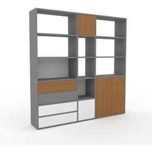 Regalsystem Grau - Regalsystem: Schubladen in Weiß & Türen in Eiche - Hochwertige Materialien - 190 x 195 x 35 cm, konfigurierbar