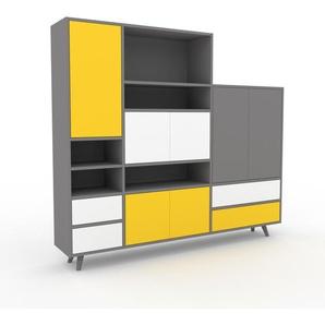 Regalsystem Grau - Regalsystem: Schubladen in Weiß & Türen in Gelb - Hochwertige Materialien - 190 x 168 x 35 cm, konfigurierbar