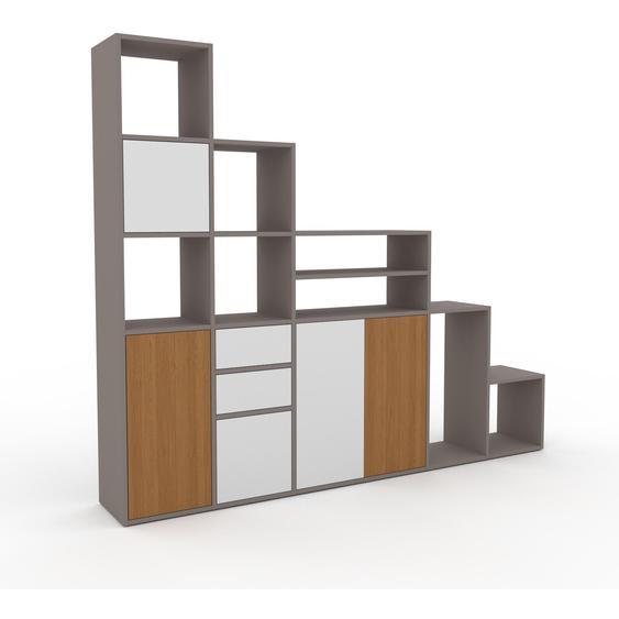 Regalsystem Grau - Regalsystem: Schubladen in Weiß & Türen in Weiß - Hochwertige Materialien - 231 x 195 x 35 cm, konfigurierbar