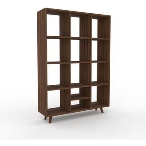 Regalsystem Nussbaum, Holz - Flexibles Regalsystem: Hochwertige Qualität, einzigartiges Design - 118 x 168 x 35 cm, Komplett anpassbar