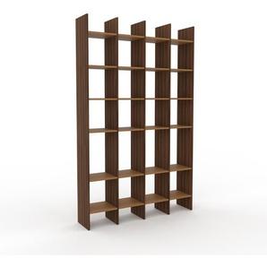Regalsystem Nussbaum, Holz - Flexibles Regalsystem: Hochwertige Qualität, einzigartiges Design - 156 x 253 x 35 cm, Komplett anpassbar