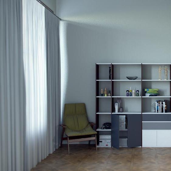 Regalsystem Nussbaum - Regalsystem: Schubladen in Grau & Türen in Anthrazit - Hochwertige Materialien - 229 x 157 x 35 cm, konfigurierbar