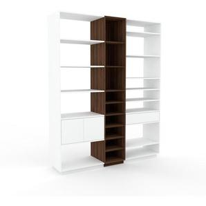 Regalsystem Nussbaum - Regalsystem: Schubladen in Weiß & Türen in Weiß - Hochwertige Materialien - 190 x 239 x 47 cm, konfigurierbar
