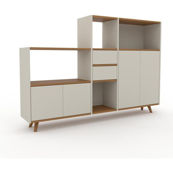 Regalsystem Taupe - Regalsystem: Schubladen in Taupe & Türen in Taupe - Hochwertige Materialien - 190 x 130 x 35 cm, konfigurierbar