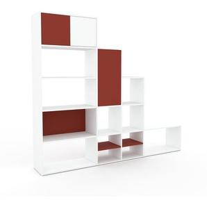 Regalsystem Weiß - Flexibles Regalsystem: Türen in Rot - Hochwertige Materialien - 229 x 195 x 35 cm, Komplett anpassbar