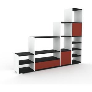 Regalsystem Weiß - Regalsystem: Schubladen in Rot & Türen in Rot - Hochwertige Materialien - 193 x 158 x 35 cm, konfigurierbar