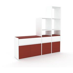 Regalsystem Weiß - Regalsystem: Schubladen in Weiß & Türen in Rot - Hochwertige Materialien - 154 x 157 x 35 cm, konfigurierbar