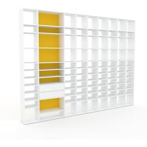 Regalsystem Weiß - Flexibles Regalsystem: Schubladen in Weiß - Hochwertige Materialien - 385 x 291 x 35 cm, Komplett anpassbar