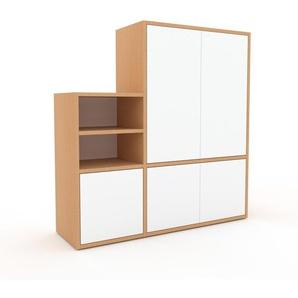 Regalsystem Buche - Flexibles Regalsystem: Türen in Weiß - Hochwertige Materialien - 116 x 118 x 35 cm, Komplett anpassbar