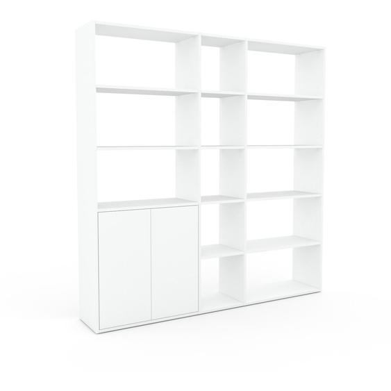 Regalsystem Weiß - Flexibles Regalsystem: Türen in Weiß - Hochwertige Materialien - 190 x 195 x 35 cm, Komplett anpassbar