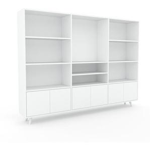 Regalsystem Weiß - Flexibles Regalsystem: Türen in Weiß - Hochwertige Materialien - 226 x 168 x 35 cm, Komplett anpassbar