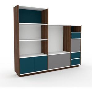 Regalsystem Nussbaum - Regalsystem: Schubladen in Blau & Türen in Grau - Hochwertige Materialien - 190 x 162 x 35 cm, konfigurierbar