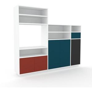 Regalsystem Weiß - Regalsystem: Schubladen in Blau & Türen in Rot - Hochwertige Materialien - 190 x 162 x 35 cm, konfigurierbar
