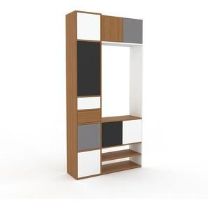 Regalsystem Eiche - Regalsystem: Schubladen in Weiß & Türen in Weiß - Hochwertige Materialien - 116 x 233 x 35 cm, konfigurierbar