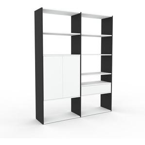 Regalsystem Anthrazit - Regalsystem: Schubladen in Weiß & Türen in Weiß - Hochwertige Materialien - 152 x 195 x 35 cm, konfigurierbar