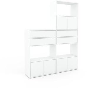 Regalsystem Weiß - Regalsystem: Schubladen in Weiß & Türen in Weiß - Hochwertige Materialien - 152 x 195 x 35 cm, konfigurierbar