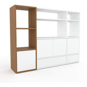 Regalsystem Eiche - Regalsystem: Schubladen in Weiß & Türen in Weiß - Hochwertige Materialien - 154 x 118 x 35 cm, konfigurierbar