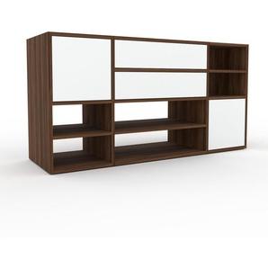Regalsystem Nussbaum - Regalsystem: Schubladen in Weiß & Türen in Weiß - Hochwertige Materialien - 154 x 80 x 47 cm, konfigurierbar