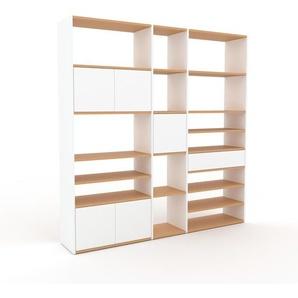 Regalsystem Weiß - Regalsystem: Schubladen in Weiß & Türen in Weiß - Hochwertige Materialien - 190 x 195 x 35 cm, konfigurierbar