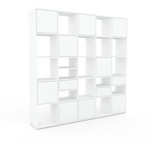 Regalsystem Weiß - Regalsystem: Schubladen in Weiß & Türen in Weiß - Hochwertige Materialien - 195 x 195 x 35 cm, konfigurierbar