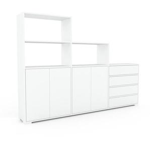 Regalsystem Weiß - Regalsystem: Schubladen in Weiß & Türen in Weiß - Hochwertige Materialien - 226 x 158 x 35 cm, konfigurierbar